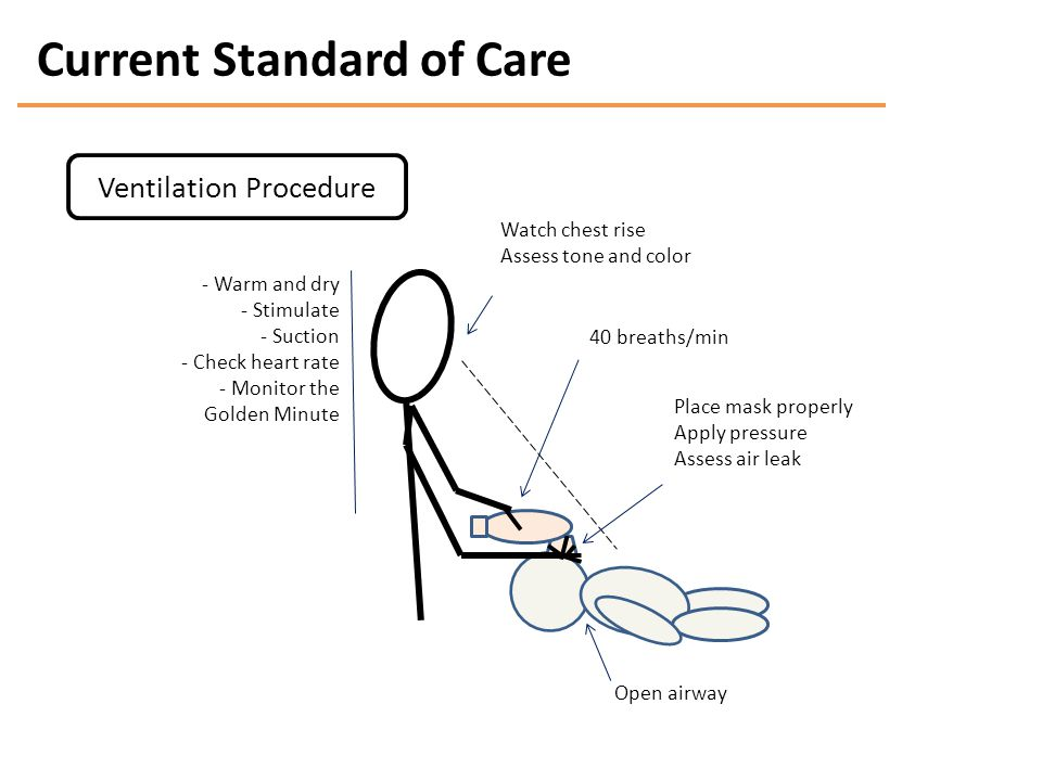 Current Standard of Care Watch chest rise Assess tone and color 40 breaths/min Place mask properly Apply pressure Assess air leak Open airway - Warm and dry - Stimulate - Suction - Check heart rate - Monitor the Golden Minute Ventilation Procedure