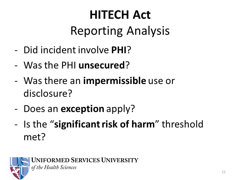 HITECH Act Reporting Analysis -Did incident involve PHI.