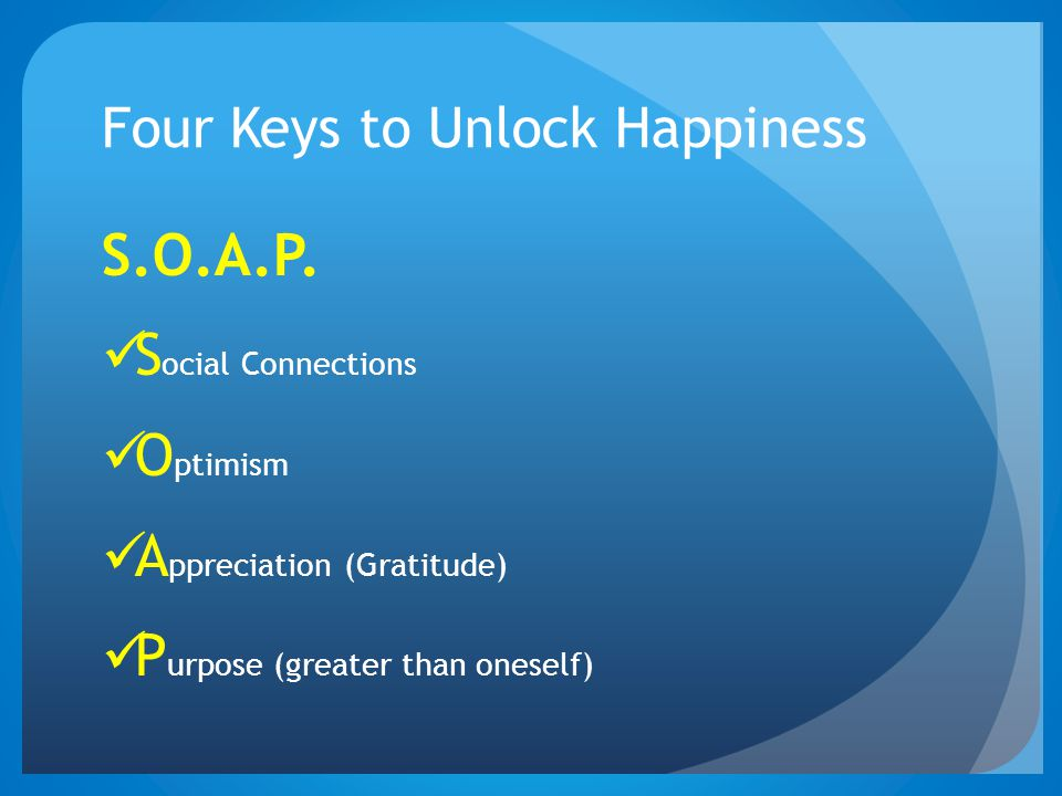 Four Keys to Unlock Happiness S.O.A.P.