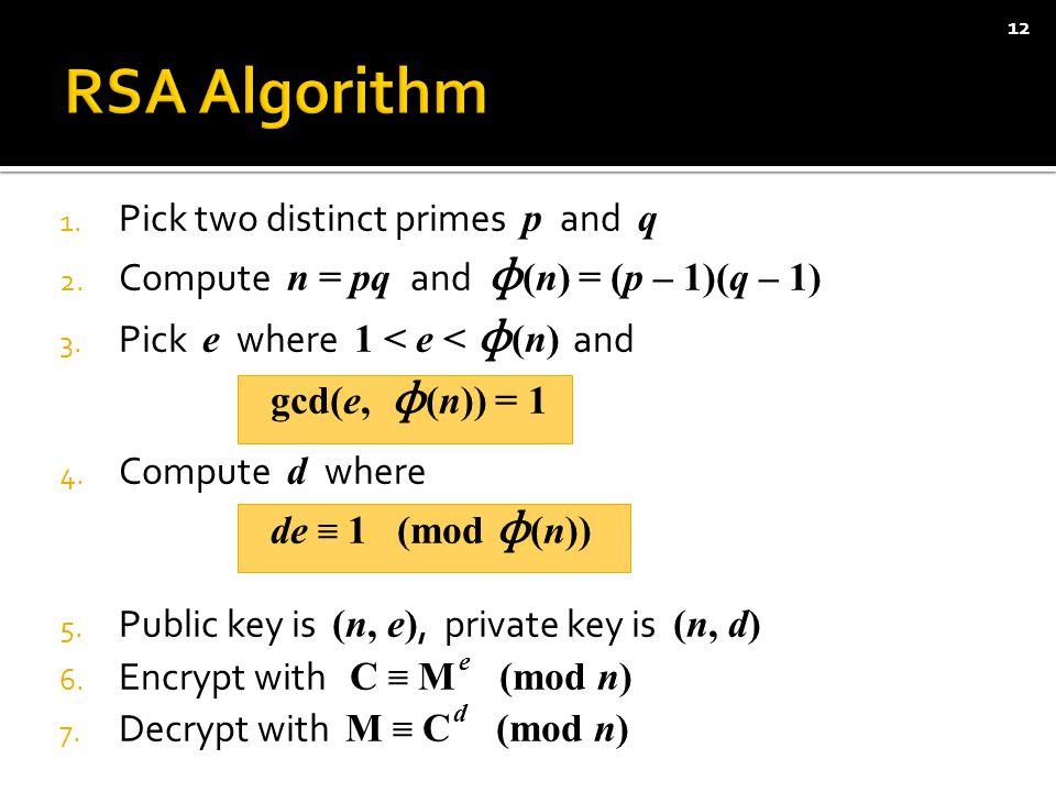 1. Pick two distinct primes p and q 2. Compute n = pq and ɸ (n) = (p – 1)(q – 1) 3.