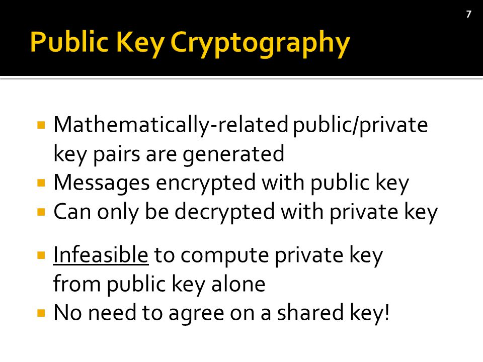  Mathematically-related public/private key pairs are generated  Messages encrypted with public key  Can only be decrypted with private key  Infeasible to compute private key from public key alone  No need to agree on a shared key.
