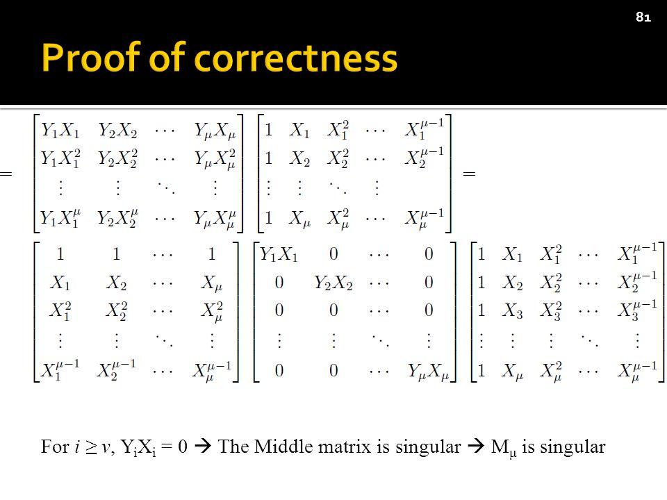 81 For i ≥ ν, Y i X i = 0  The Middle matrix is singular  M μ is singular