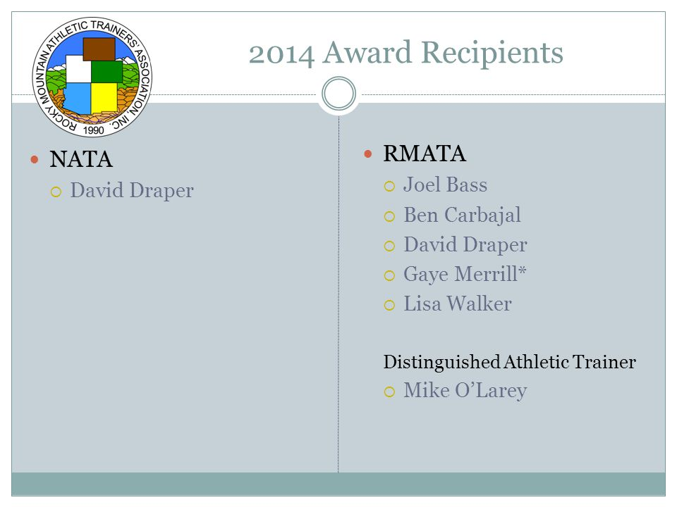 NATA Hall of Fame Jack Aggers* Jack Baynes Bob Beeten Jim Conboy* Gary Delforge Moose Detty* L.F.