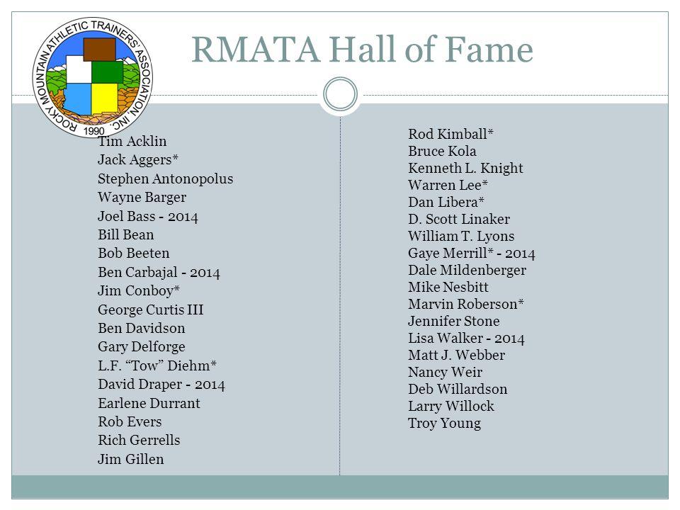 RMATA Distinguished Athletic Trainer Wayne Barger Jack Baynes Shannon Courtney David O.