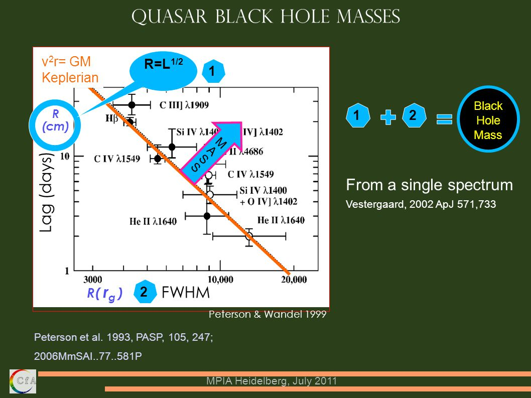 MPIA Heidelberg, July 2011 Quasar Black Hole Masses Peterson et al.