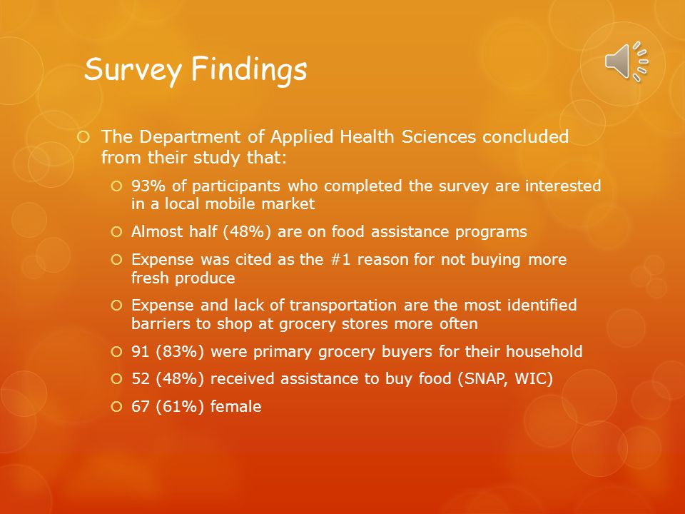 Survey Findings  The Department of Applied Health Sciences concluded from their study that:  93% of participants who completed the survey are interested in a local mobile market  Almost half (48%) are on food assistance programs  Expense was cited as the #1 reason for not buying more fresh produce  Expense and lack of transportation are the most identified barriers to shop at grocery stores more often  91 (83%) were primary grocery buyers for their household  52 (48%) received assistance to buy food (SNAP, WIC)  67 (61%) female