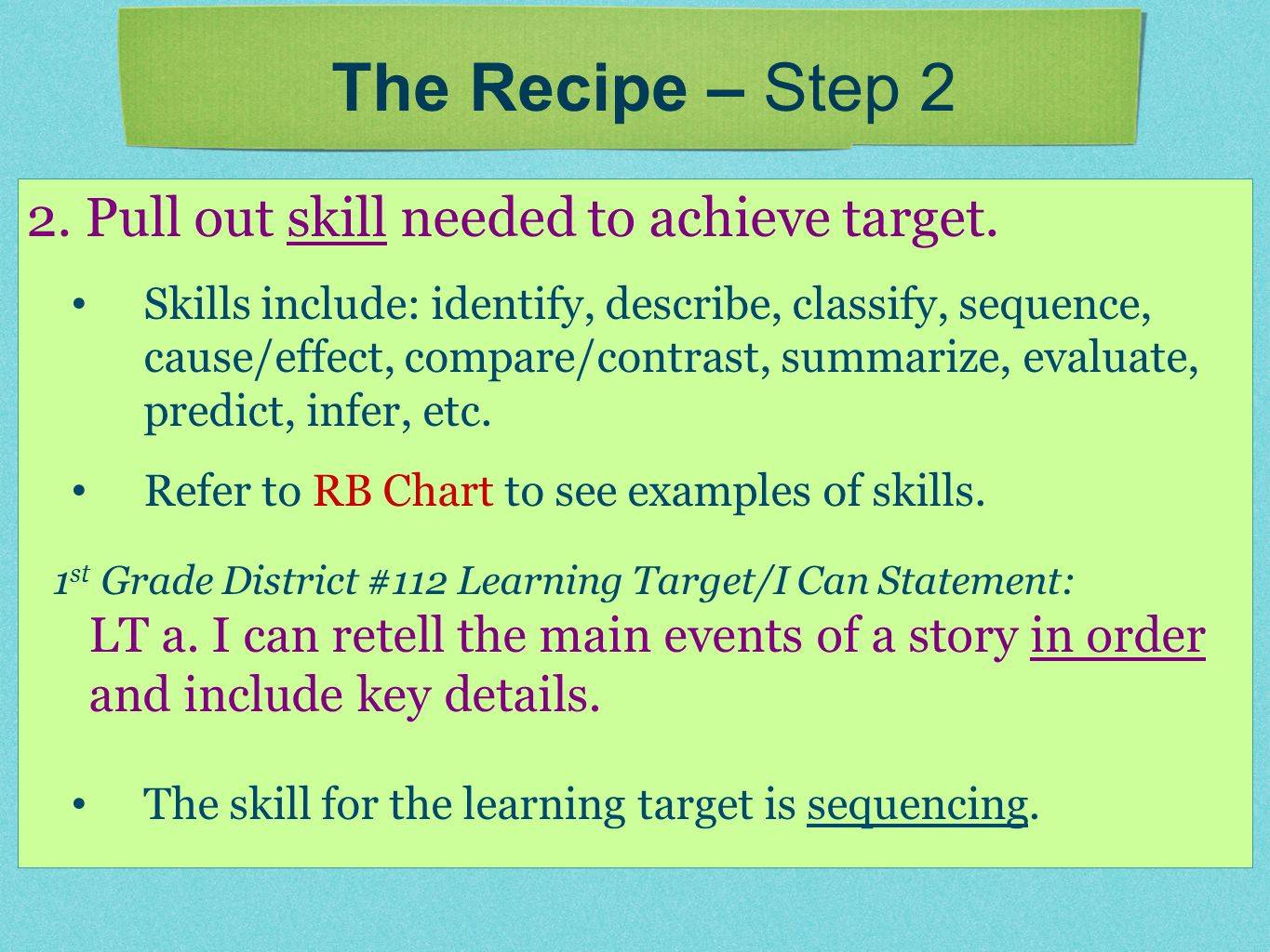 2. Pull out skill needed to achieve target. Skills include: identify, describe, classify, sequence, cause/effect, compare/contrast, summarize, evaluat