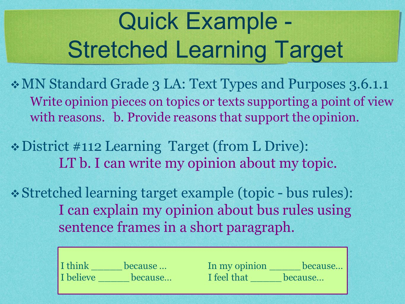 Quick Example - Stretched Learning Target  MN Standard Grade 3 LA: Text Types and Purposes 3.6.1.1 Write opinion pieces on topics or texts supporting