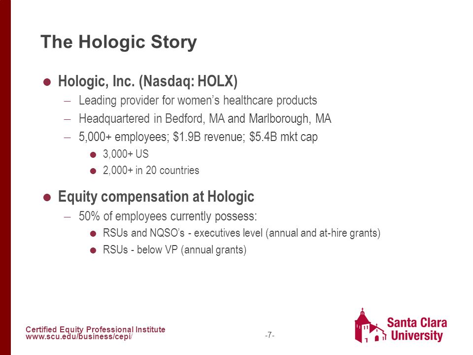 Certified Equity Professional Institute www.scu.edu/business/cepi/ -7- The Hologic Story  Hologic, Inc. (Nasdaq: HOLX) – Leading provider for women's