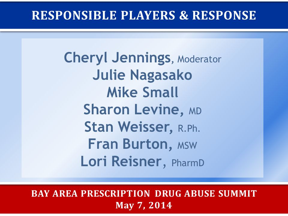BAY AREA PRESCRIPTION DRUG ABUSE SUMMIT May 7, 2014 RESPONSIBLE PLAYERS & RESPONSE Cheryl Jennings, Moderator Julie Nagasako Mike Small Sharon Levine, MD Stan Weisser, R.Ph.