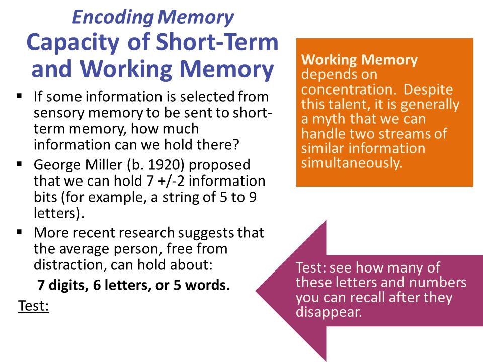 Encoding Memory Capacity of Short-Term and Working Memory  If some information is selected from sensory memory to be sent to short- term memory, how