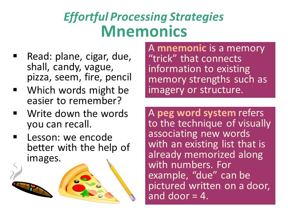 Mnemonics  Read: plane, cigar, due, shall, candy, vague, pizza, seem, fire, pencil  Which words might be easier to remember?  Write down the words