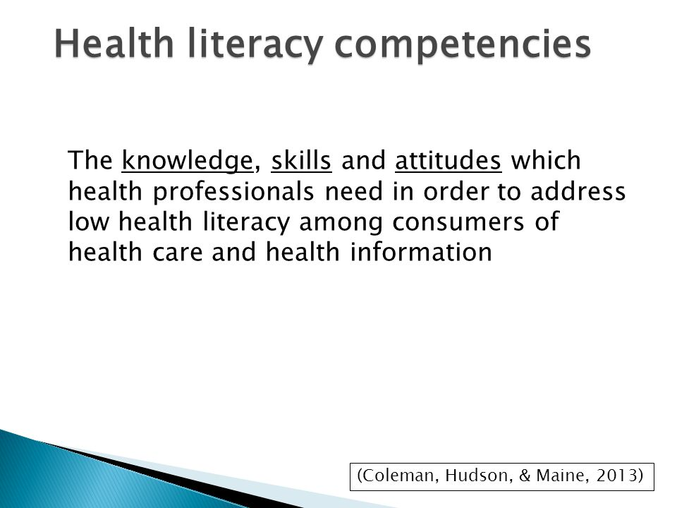 The knowledge, skills and attitudes which health professionals need in order to address low health literacy among consumers of health care and health