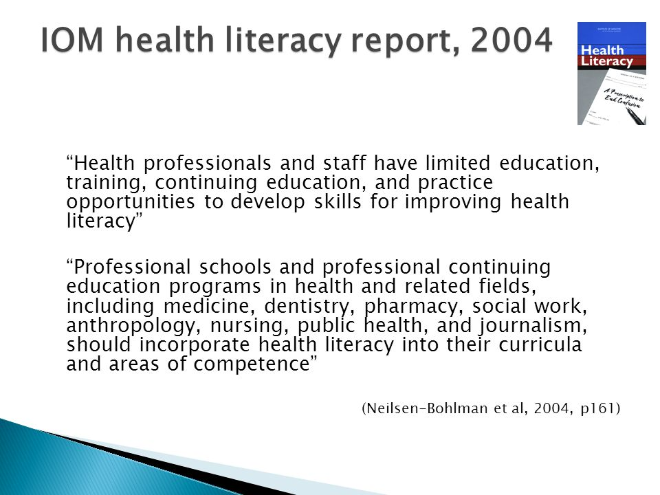 """Health professionals and staff have limited education, training, continuing education, and practice opportunities to develop skills for improving hea"