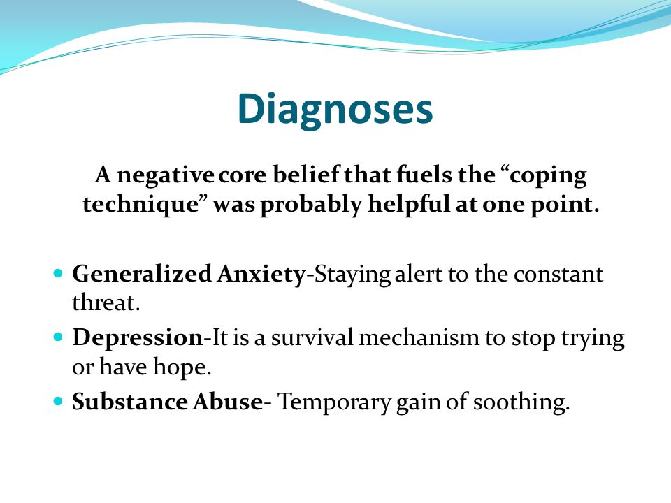 Diagnoses A negative core belief that fuels the coping technique was probably helpful at one point.