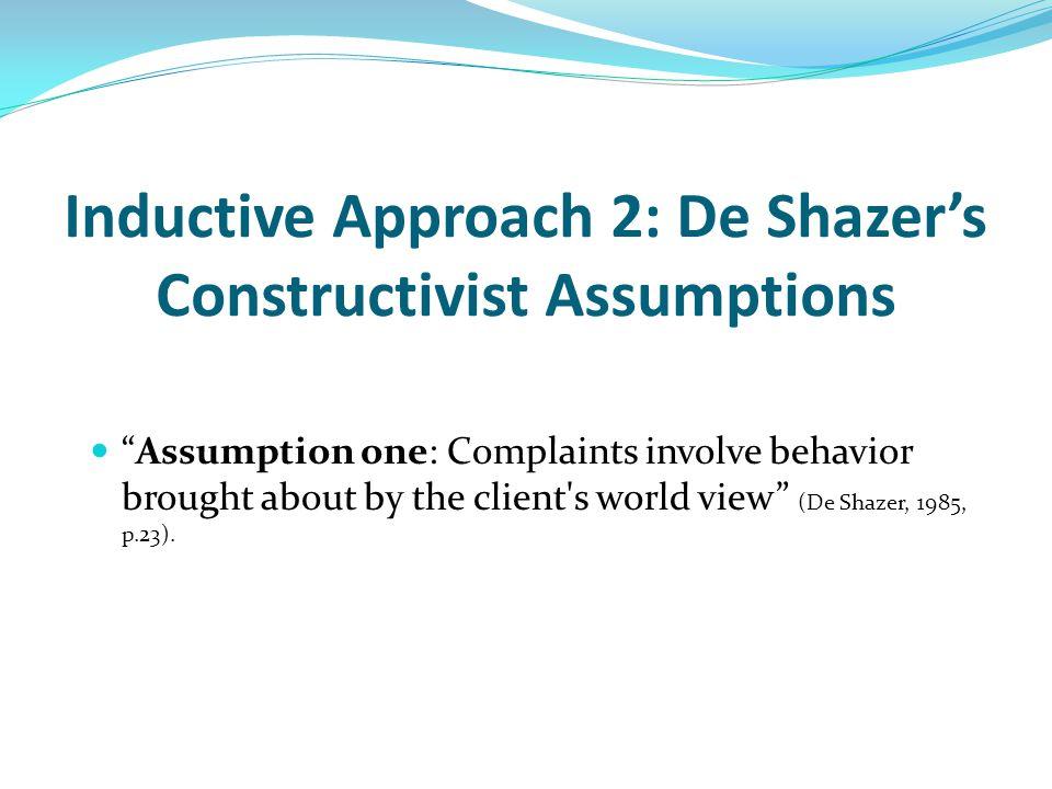 Inductive Approach 2: De Shazer's Constructivist Assumptions Assumption one: Complaints involve behavior brought about by the client s world view (De Shazer, 1985, p.23).