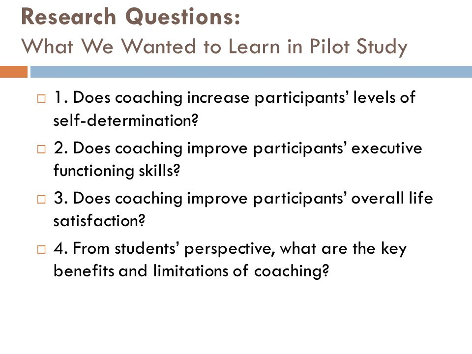 Research Questions: What We Wanted to Learn in Pilot Study  1. Does coaching increase participants' levels of self-determination?  2. Does coaching