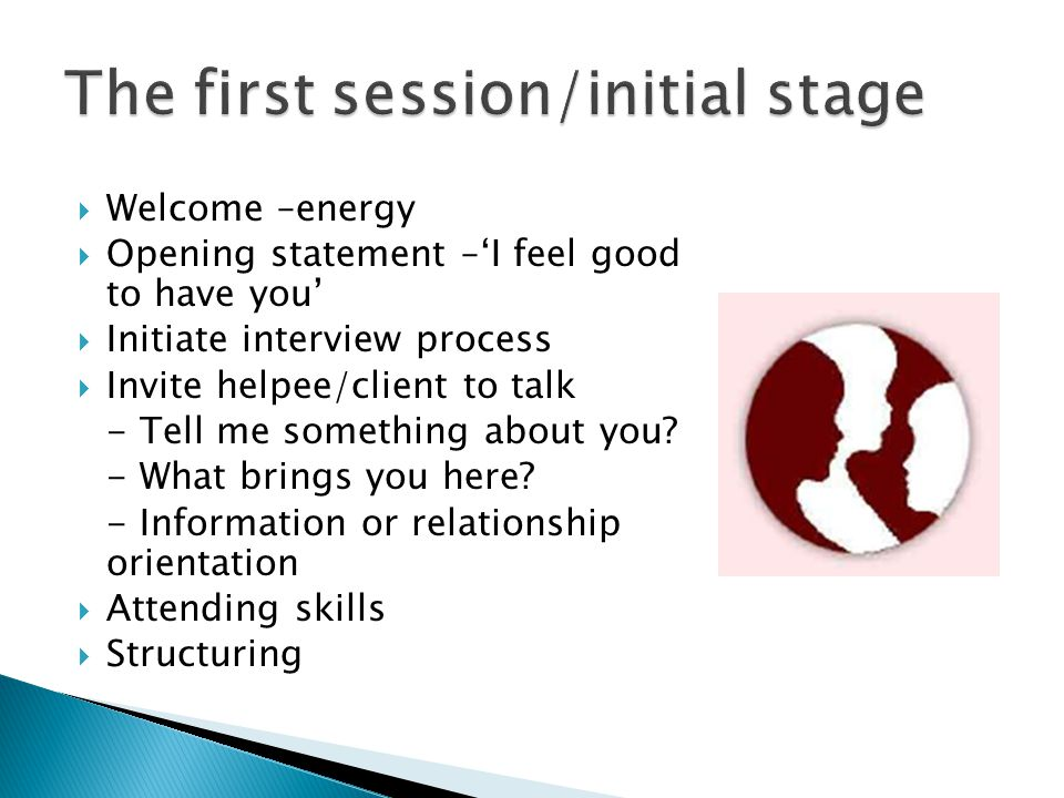  Welcome –energy  Opening statement –'I feel good to have you'  Initiate interview process  Invite helpee/client to talk - Tell me something about