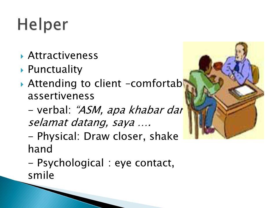  Attractiveness  Punctuality  Attending to client –comfortable assertiveness - verbal: ASM, apa khabar dan selamat datang, saya ….