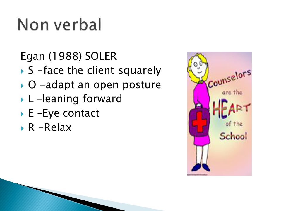 Egan (1988) SOLER  S -face the client squarely  O -adapt an open posture  L –leaning forward  E –Eye contact  R -Relax