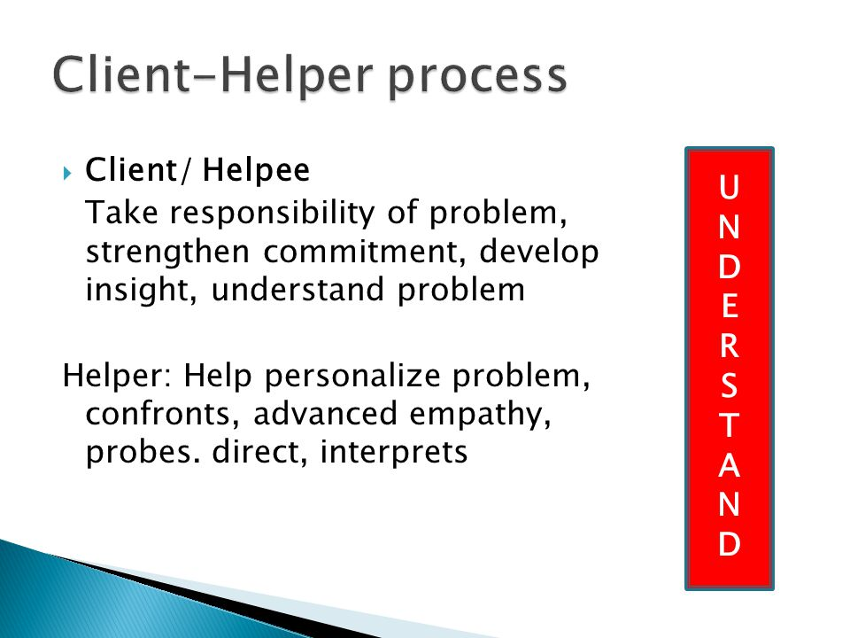  Client/ Helpee Take responsibility of problem, strengthen commitment, develop insight, understand problem Helper: Help personalize problem, confronts, advanced empathy, probes.