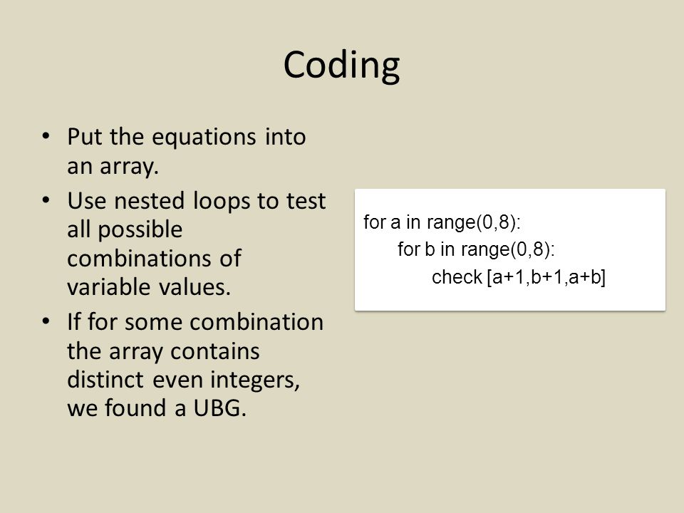Coding Put the equations into an array.