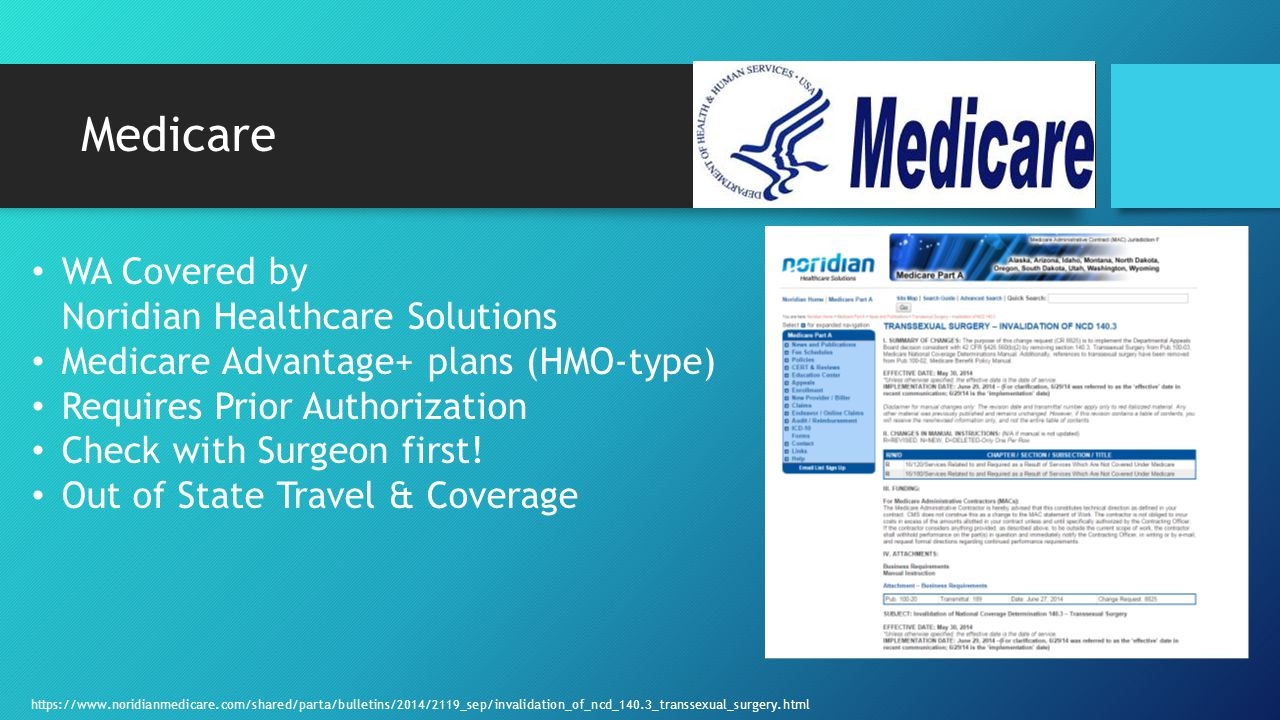 Medicare WA Covered by Noridian Healthcare Solutions Medicare Advantage+ plans (HMO-type) Requires Prior Authorization Check with Surgeon first.
