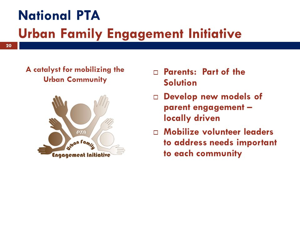 National PTA Urban Family Engagement Initiative  Parents: Part of the Solution  Develop new models of parent engagement – locally driven  Mobilize volunteer leaders to address needs important to each community 20 A catalyst for mobilizing the Urban Community