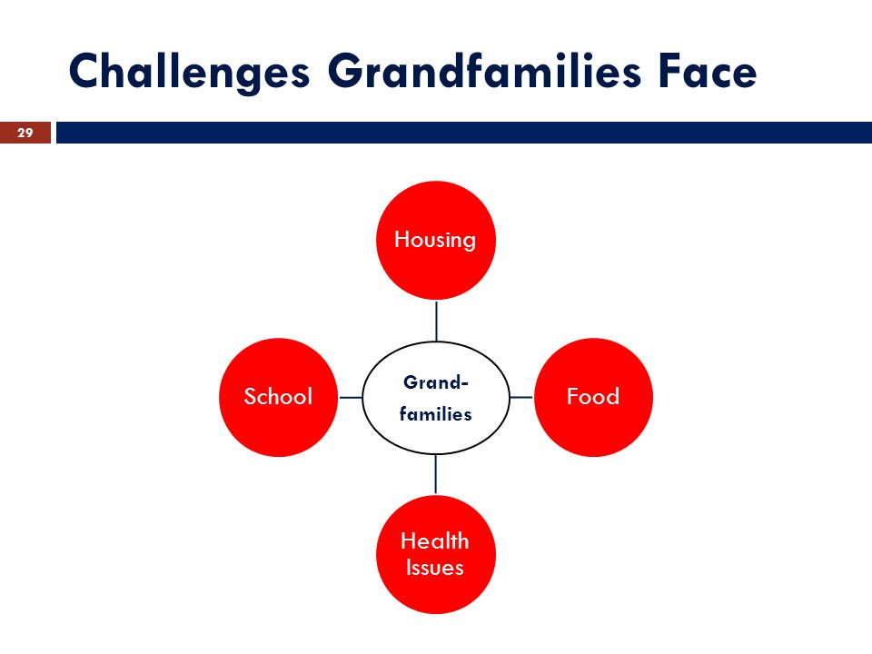 Challenges Grandfamilies Face Grand- families HousingFood Health Issues School 29