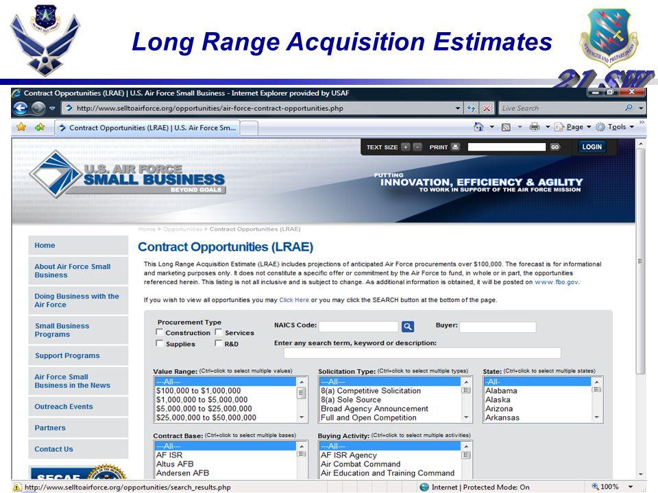 Long Range Acquisition Estimates