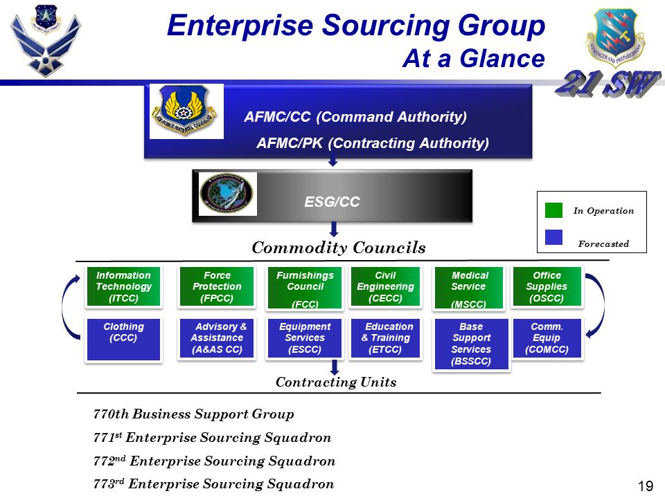 Enterprise Sourcing Group At a Glance 19 AFMC/CC (Command Authority) AFMC/PK (Contracting Authority) AFMC/CC (Command Authority) AFMC/PK (Contracting Authority) ESG/CC ESG/CC Information Technology (ITCC) Furnishings Council (FCC) Furnishings Council (FCC) Force Protection (FPCC) Civil Engineering (CECC) Medical Service (MSCC) Medical Service (MSCC) Office Supplies (OSCC) Advisory & Assistance (A&AS CC) Comm.