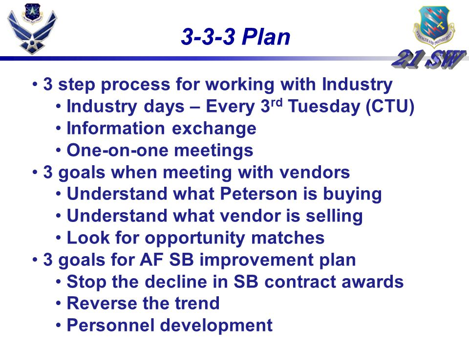 3-3-3 Plan 3 step process for working with Industry Industry days – Every 3 rd Tuesday (CTU) Information exchange One-on-one meetings 3 goals when meeting with vendors Understand what Peterson is buying Understand what vendor is selling Look for opportunity matches 3 goals for AF SB improvement plan Stop the decline in SB contract awards Reverse the trend Personnel development