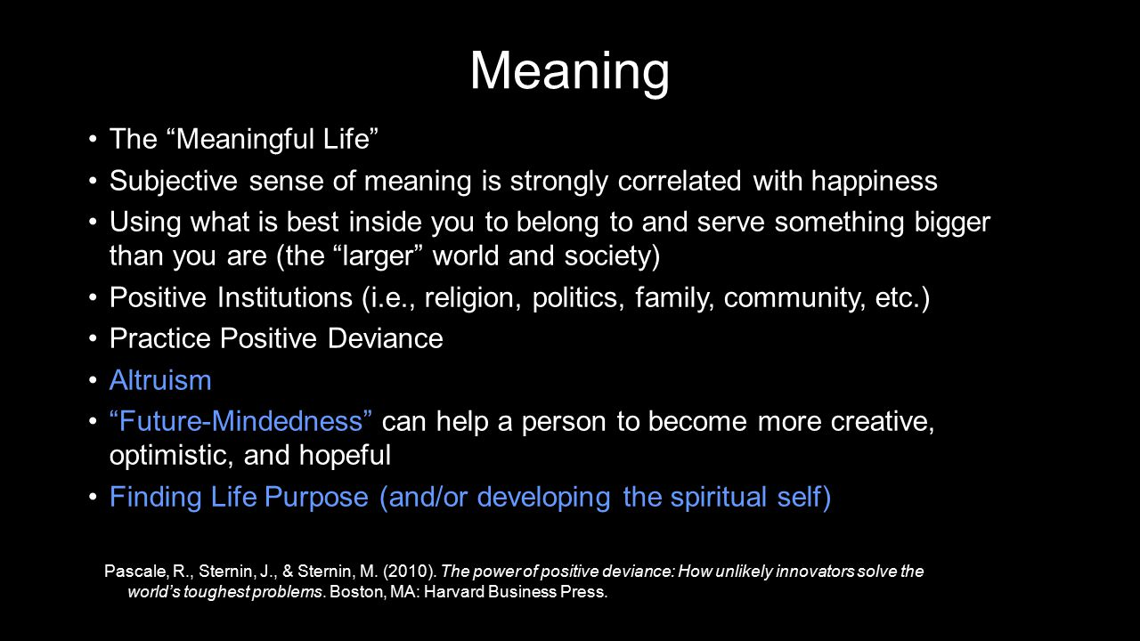 Meaning The Meaningful Life The Meaningful Life Subjective sense of meaning is strongly correlated with happinessSubjective sense of meaning is strongly correlated with happiness Using what is best inside you to belong to and serve something bigger than you are (the larger world and society)Using what is best inside you to belong to and serve something bigger than you are (the larger world and society) Positive Institutions (i.e., religion, politics, family, community, etc.)Positive Institutions (i.e., religion, politics, family, community, etc.) Practice Positive DeviancePractice Positive Deviance AltruismAltruism Future-Mindedness can help a person to become more creative, optimistic, and hopeful Future-Mindedness can help a person to become more creative, optimistic, and hopeful Finding Life Purpose (and/or developing the spiritual self)Finding Life Purpose (and/or developing the spiritual self) Pascale, R., Sternin, J., & Sternin, M.