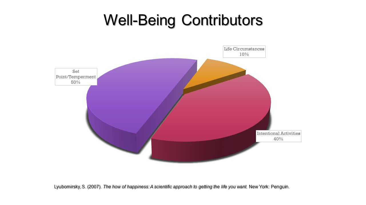 Well-Being Contributors Lyubomirsky, S. (2007).
