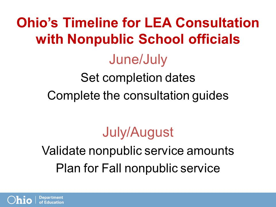 Ohio's Timeline for LEA Consultation with Nonpublic School officials June/July Set completion dates Complete the consultation guides July/August Validate nonpublic service amounts Plan for Fall nonpublic service