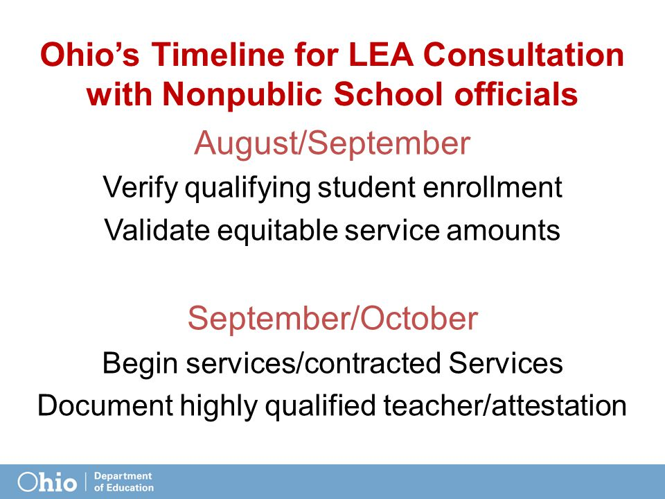 Ohio's Timeline for LEA Consultation with Nonpublic School officials August/September Verify qualifying student enrollment Validate equitable service amounts September/October Begin services/contracted Services Document highly qualified teacher/attestation