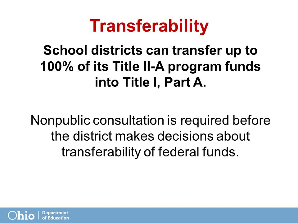 Transferability School districts can transfer up to 100% of its Title II-A program funds into Title I, Part A.