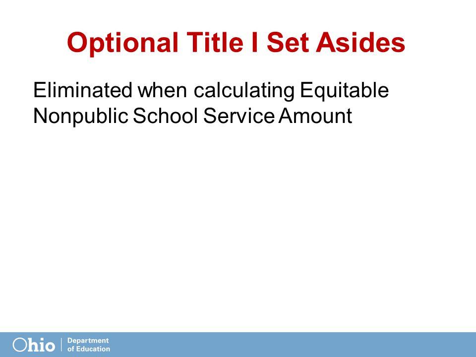 Optional Title I Set Asides Eliminated when calculating Equitable Nonpublic School Service Amount