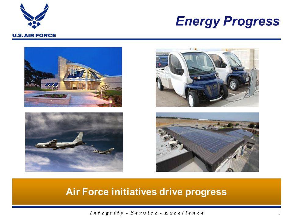 I n t e g r i t y - S e r v i c e - E x c e l l e n c e Energy Progress 5 Air Force initiatives drive progress