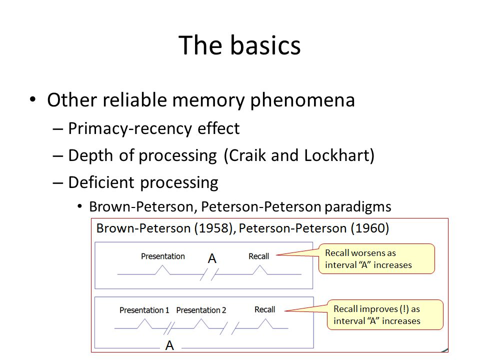 The basics Other reliable memory phenomena – Primacy-recency effect – Depth of processing (Craik and Lockhart) – Deficient processing Brown-Peterson, Peterson-Peterson paradigms