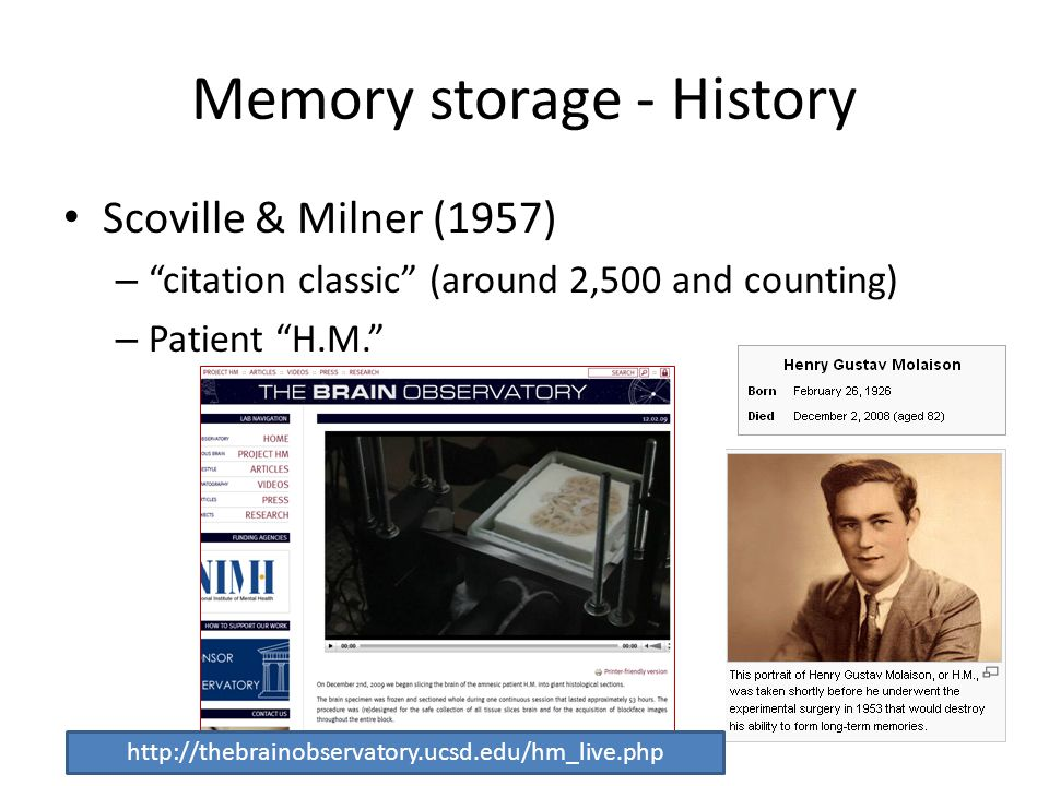 Memory storage - History Scoville & Milner (1957) – citation classic (around 2,500 and counting) – Patient H.M. http://thebrainobservatory.ucsd.edu/hm_live.php