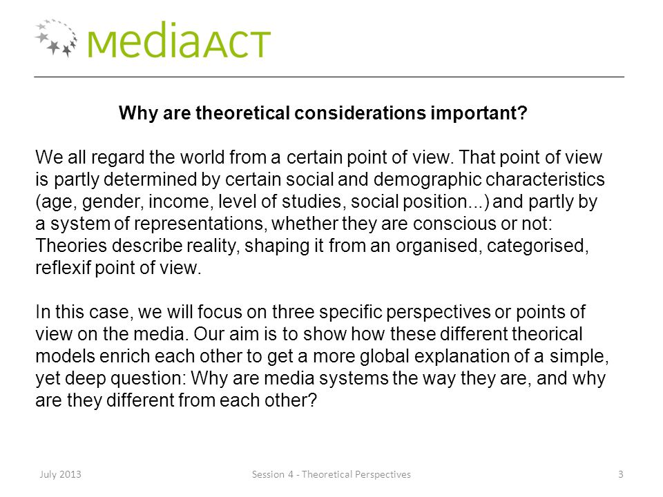 July 2013Session 4 - Theoretical Perspectives3 Why are theoretical considerations important.