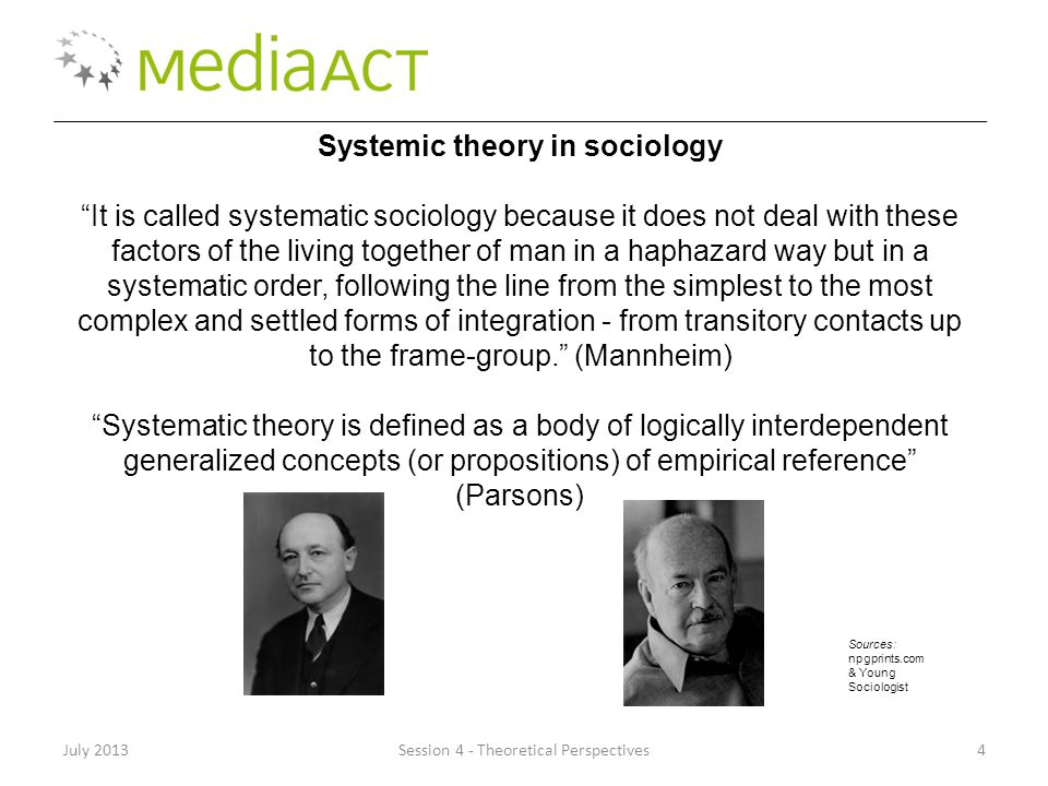 "July 2013Session 4 - Theoretical Perspectives4 Systemic theory in sociology ""It is called systematic sociology because it does not deal with these fac"