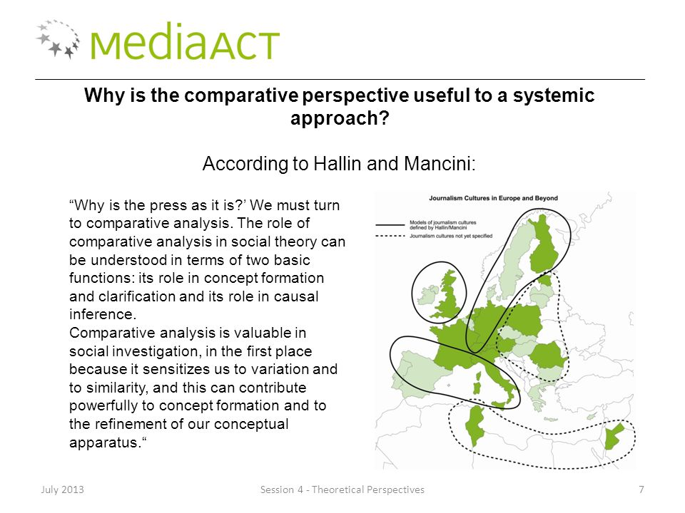 "July 2013Session 4 - Theoretical Perspectives7 Why is the comparative perspective useful to a systemic approach? According to Hallin and Mancini: ""Why"