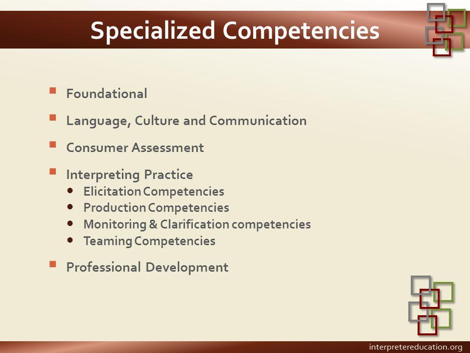 Specialized Competencies  Foundational  Language, Culture and Communication  Consumer Assessment  Interpreting Practice Elicitation Competencies P