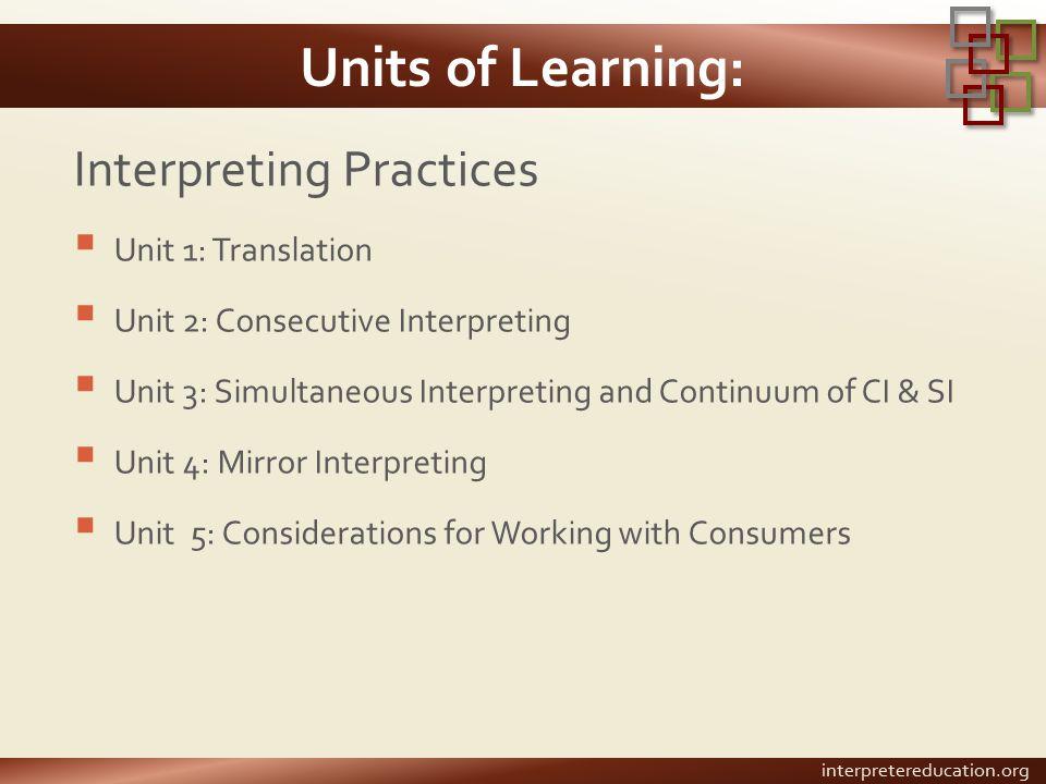 Units of Learning: Interpreting Practices  Unit 1: Translation  Unit 2: Consecutive Interpreting  Unit 3: Simultaneous Interpreting and Continuum o