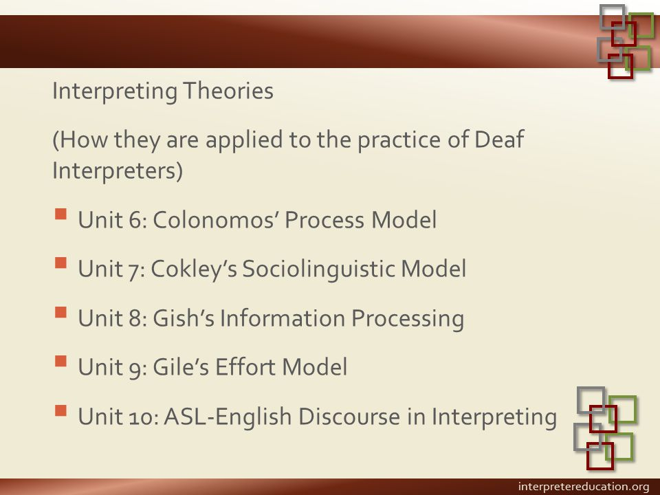 Interpreting Theories (How they are applied to the practice of Deaf Interpreters)  Unit 6: Colonomos' Process Model  Unit 7: Cokley's Sociolinguistic Model  Unit 8: Gish's Information Processing  Unit 9: Gile's Effort Model  Unit 10: ASL-English Discourse in Interpreting