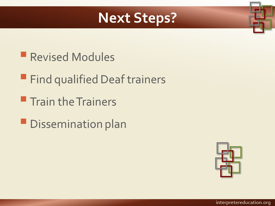 Next Steps?  Revised Modules  Find qualified Deaf trainers  Train the Trainers  Dissemination plan