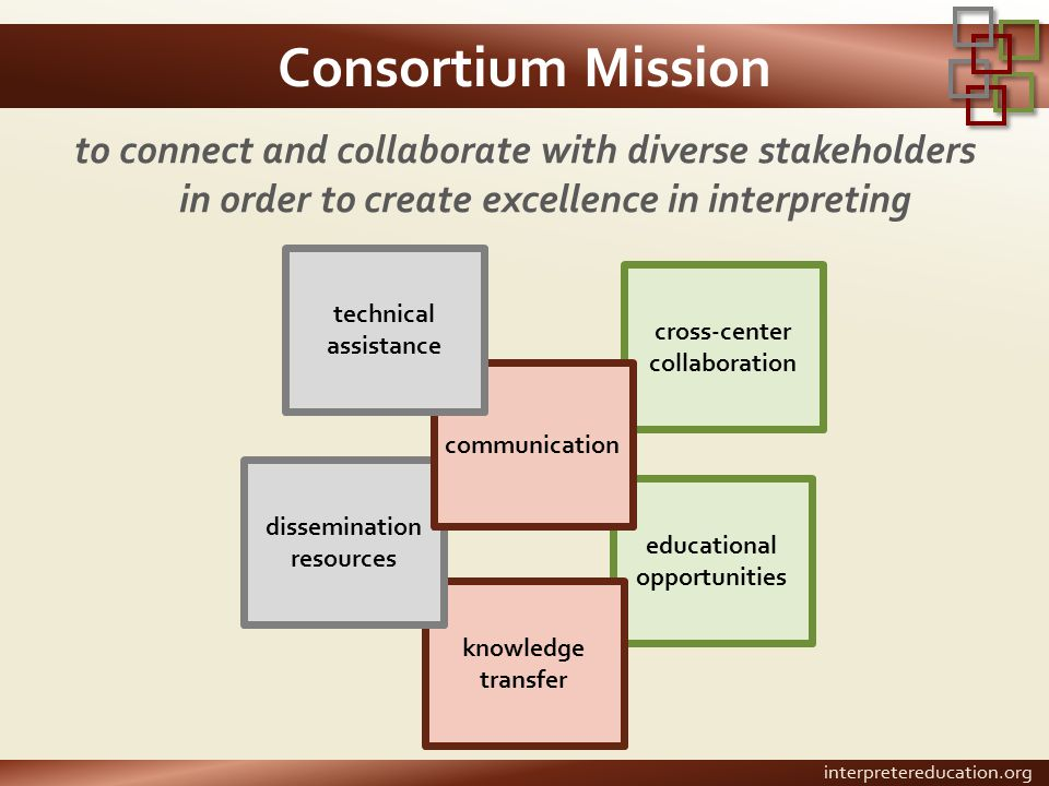 Consortium Mission to connect and collaborate with diverse stakeholders in order to create excellence in interpreting cross-center collaboration educa