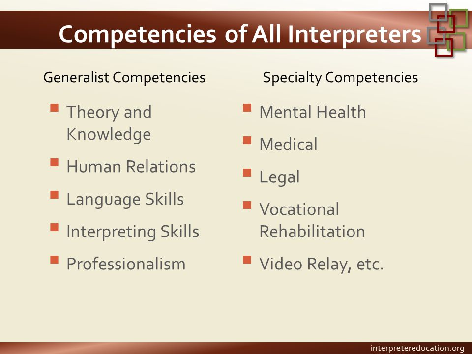 Competencies of All Interpreters Generalist Competencies  Theory and Knowledge  Human Relations  Language Skills  Interpreting Skills  Professionalism Specialty Competencies  Mental Health  Medical  Legal  Vocational Rehabilitation  Video Relay, etc.